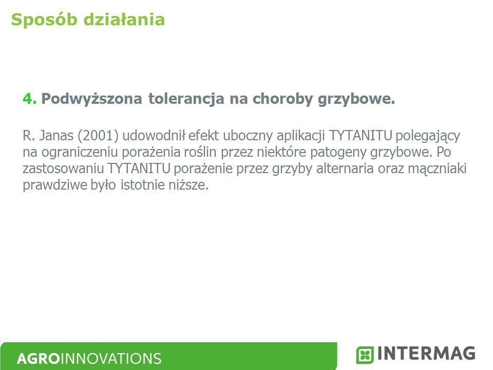 4. Podwyższona tolerancja na choroby grzybowe. R. Janas (2001) udowodnił efekt uboczny aplikacji TYTANITU polegający na ograniczeniu porażenia roślin