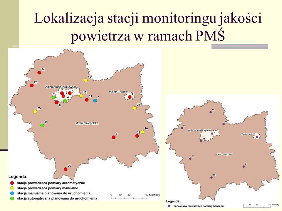 Lokalizacja stacji monitoringu jakości powietrza w ramach PMŚ