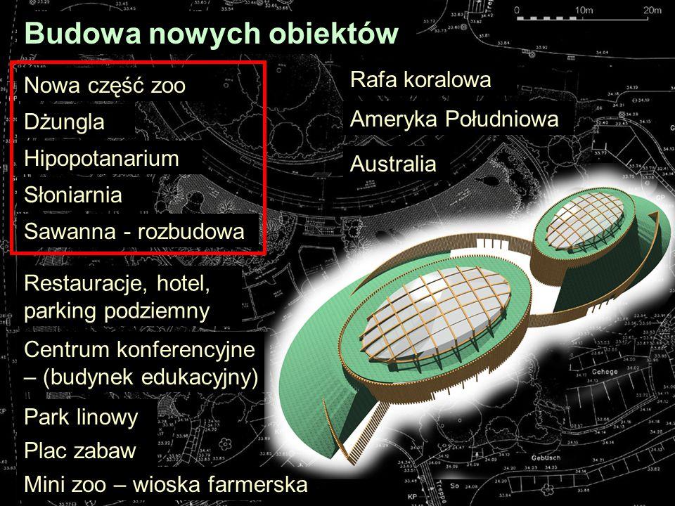 Budowa nowych obiektów Sawanna - rozbudowa Słoniarnia Hipopotanarium Dżungla Mini zoo – wioska farmerska Restauracje, hotel, parking podziemny Centrum konferencyjne – (budynek edukacyjny) Plac zabaw Rafa koralowa Park linowy Nowa część zoo Ameryka Południowa Australia