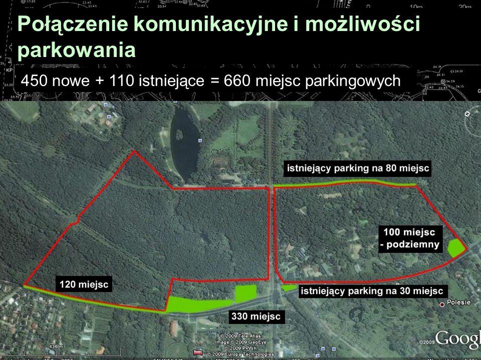 Połączenie komunikacyjne i możliwości parkowania 450 nowe + 110 istniejące = 660 miejsc parkingowych