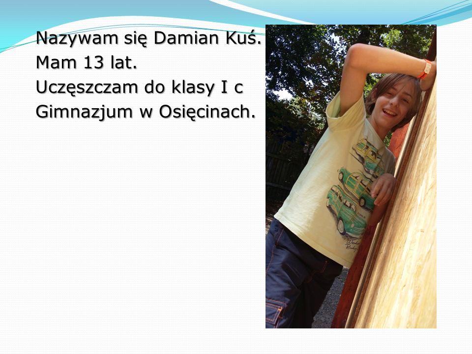 Nazywam się Damian Kuś. Mam 13 lat. Uczęszczam do klasy I c Gimnazjum w Osięcinach.