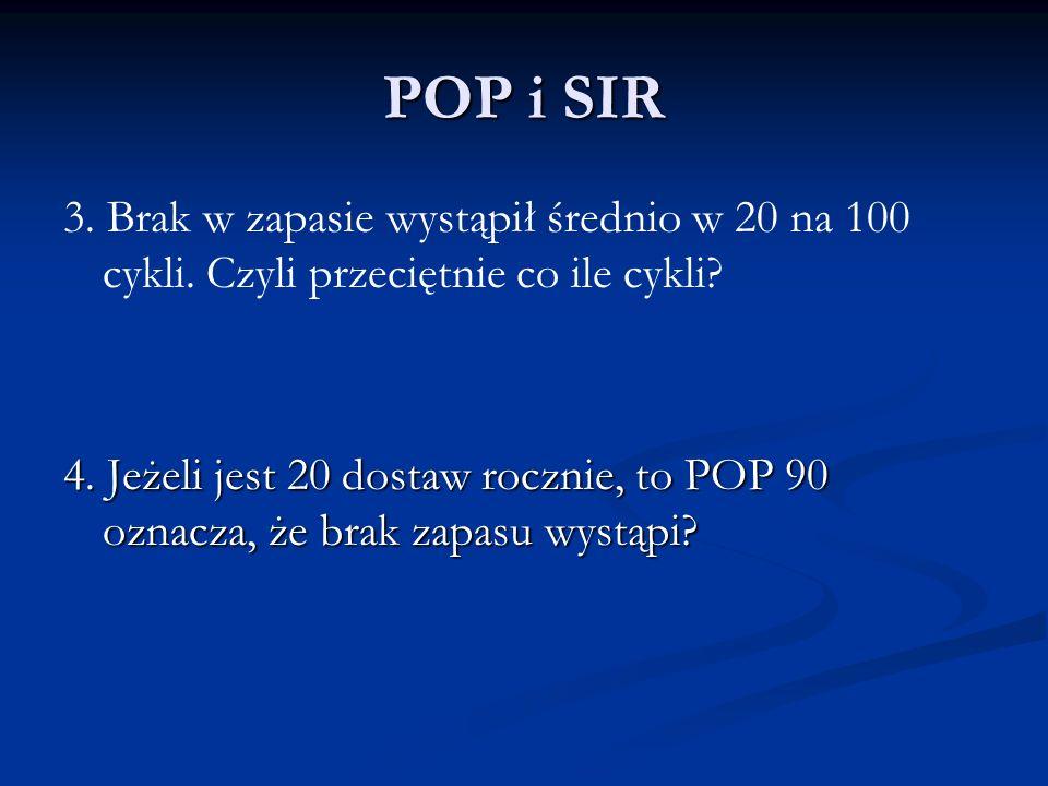 POP i SIR 3. Brak w zapasie wystąpił średnio w 20 na 100 cykli. Czyli przeciętnie co ile cykli? 4. Jeżeli jest 20 dostaw rocznie, to POP 90 oznacza, ż