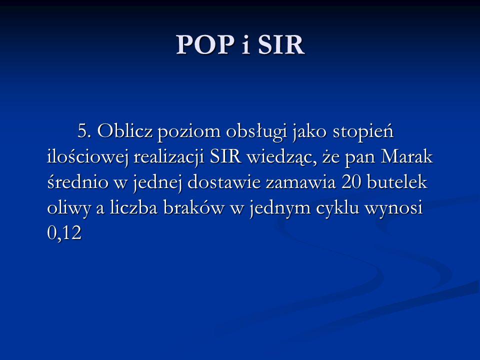POP i SIR 5. Oblicz poziom obsługi jako stopień ilościowej realizacji SIR wiedząc, że pan Marak średnio w jednej dostawie zamawia 20 butelek oliwy a l