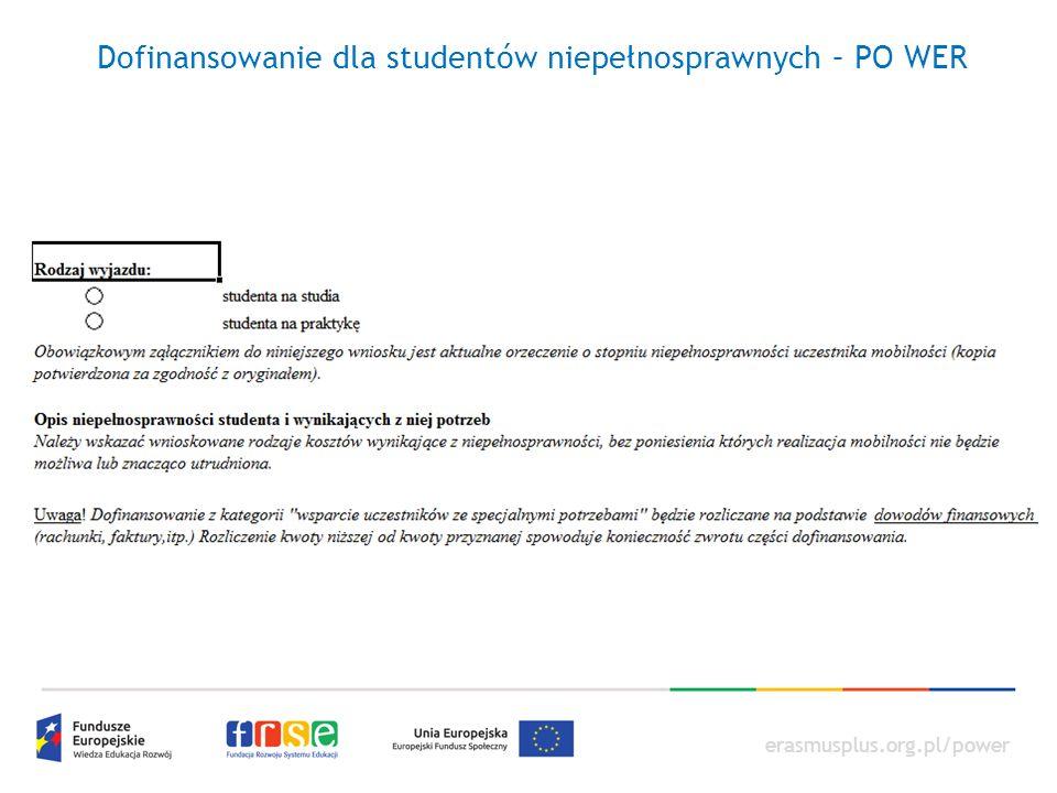 erasmusplus.org.pl/power Dofinansowanie dla studentów niepełnosprawnych – PO WER