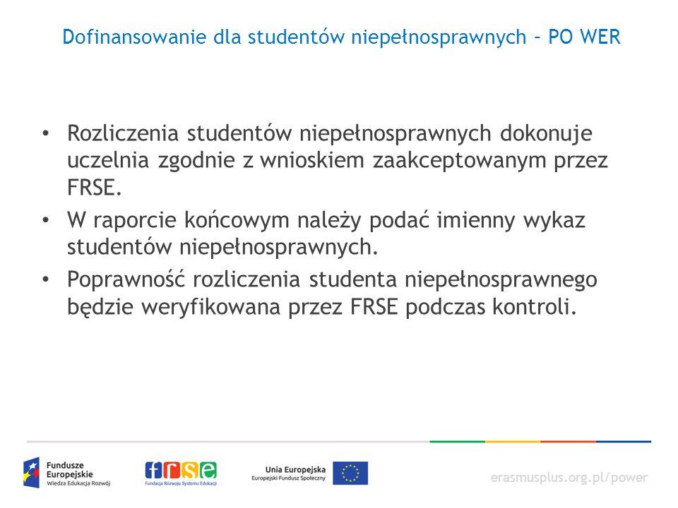 erasmusplus.org.pl/power Dofinansowanie dla studentów niepełnosprawnych – PO WER Rozliczenia studentów niepełnosprawnych dokonuje uczelnia zgodnie z wnioskiem zaakceptowanym przez FRSE.