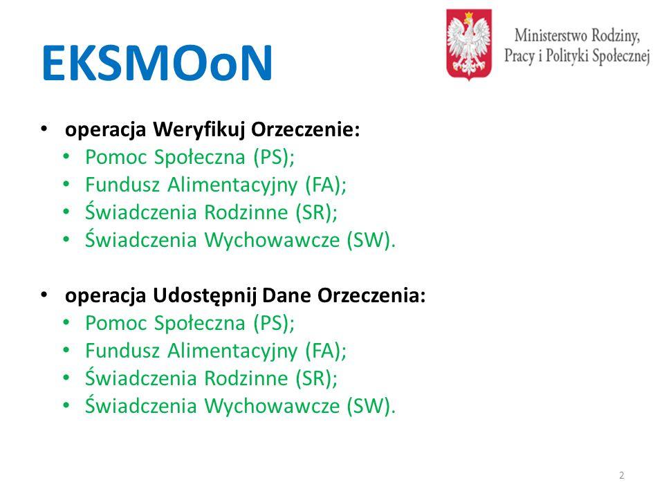 EKSMOoN operacja Weryfikuj Orzeczenie: Pomoc Społeczna (PS); Fundusz Alimentacyjny (FA); Świadczenia Rodzinne (SR); Świadczenia Wychowawcze (SW). oper