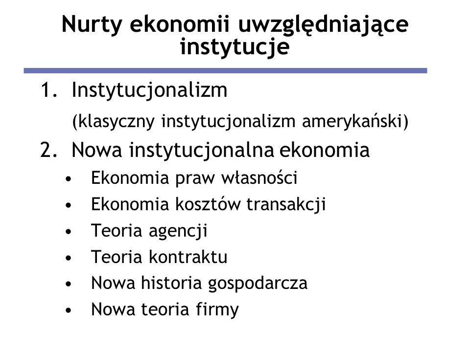 Nurty ekonomii uwzględniające instytucje 1.Instytucjonalizm (klasyczny instytucjonalizm amerykański) 2.Nowa instytucjonalna ekonomia Ekonomia praw wła