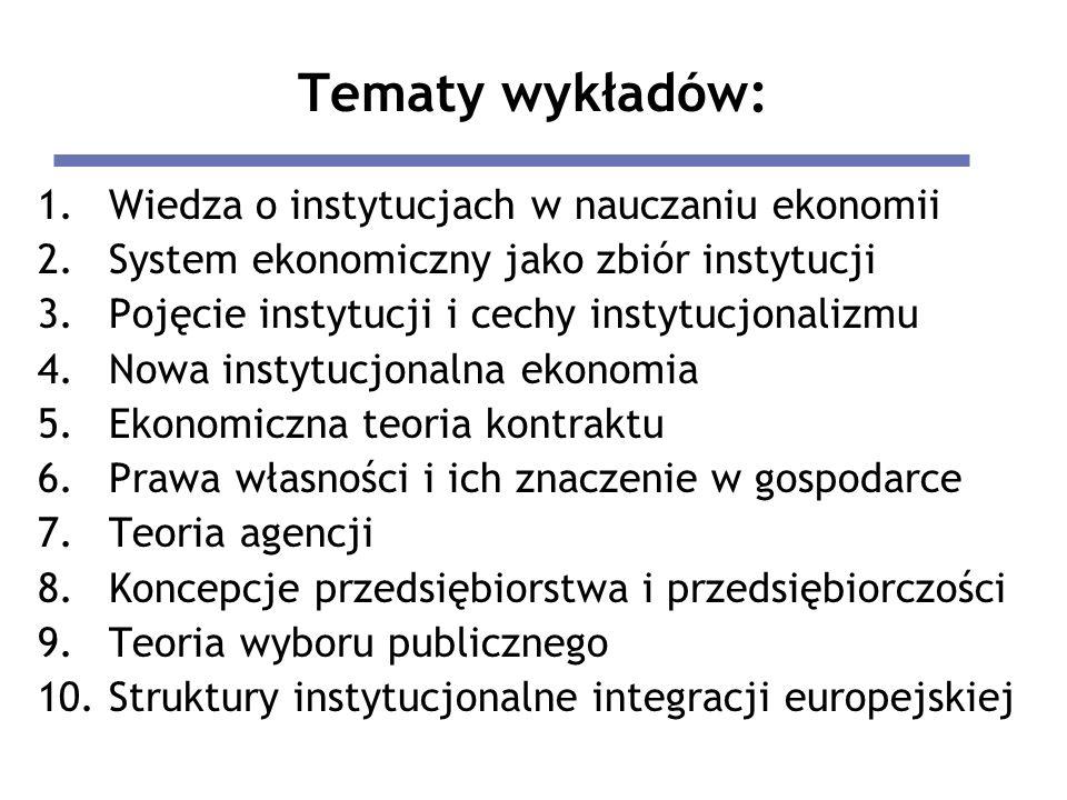Tematy wykładów: 1.Wiedza o instytucjach w nauczaniu ekonomii 2.System ekonomiczny jako zbiór instytucji 3.Pojęcie instytucji i cechy instytucjonalizm