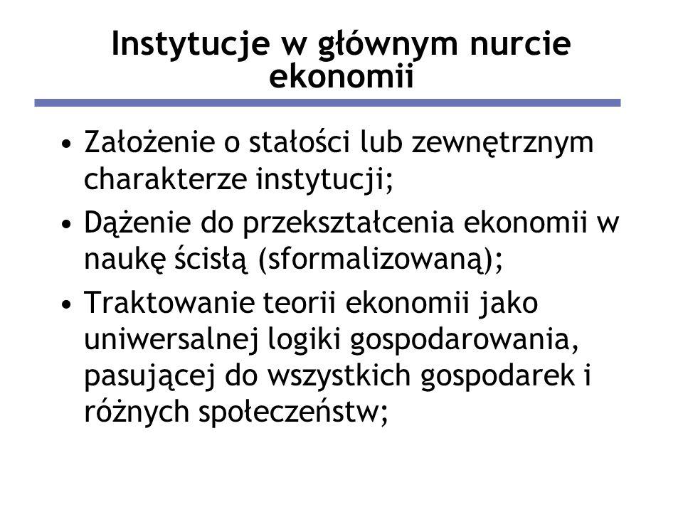 Instytucje w głównym nurcie ekonomii Założenie o stałości lub zewnętrznym charakterze instytucji; Dążenie do przekształcenia ekonomii w naukę ścisłą (