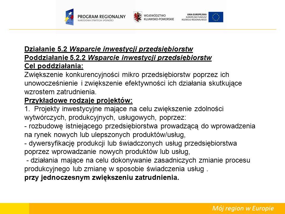 Mój region w Europie Regionalna pomoc inwestycyjna – podstawowe pojęcia i zasady  Dla województwa kujawsko-pomorskiego wynosi ona 50% (w przypadku sektora MŚP dopuszcza się wyższą intensywność pomocy publicznej; decyzja o zastosowaniu podwyższonego limitu intensywności pomocy pozostaje w kompetencji IZ RPO WK-P)  Kwotę udzielanej regionalnej pomocy inwestycyjnej oblicza się w odniesieniu do tzw.