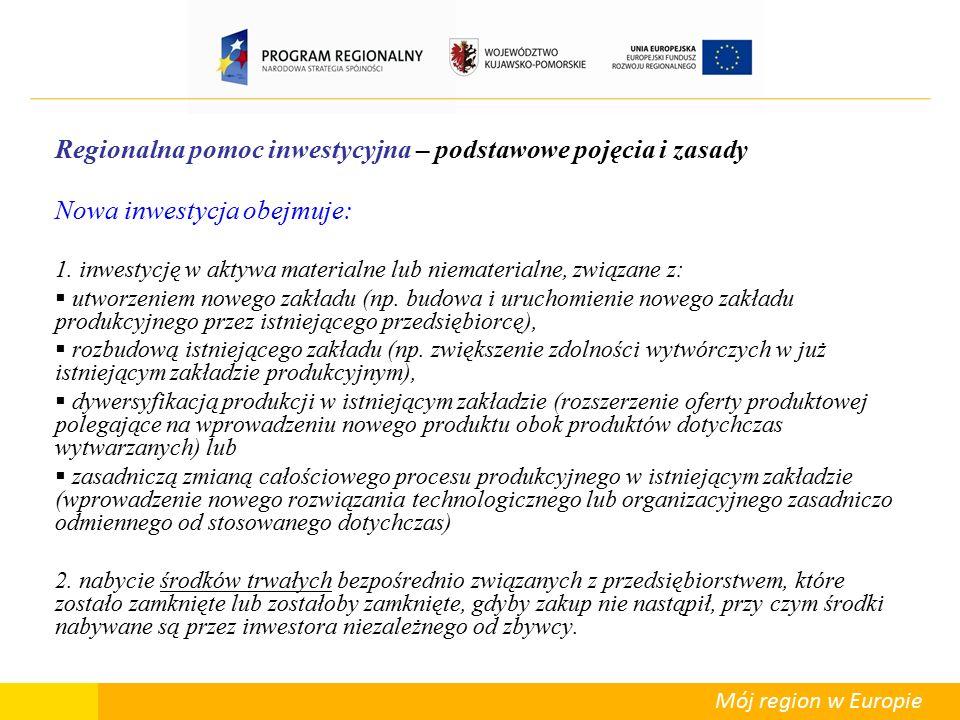 Mój region w Europie Regionalna pomoc inwestycyjna – podstawowe pojęcia i zasady  Uważa się, że efekt zachęty nie występuje, jeśli inwestor rozpoczął realizację projektu inwestycyjnego przed upewnieniem się, że projekt ten przynajmniej potencjalnie może uzyskać pomoc publiczną  Regionalna pomoc inwestycyjna może zostać udzielona wyłącznie wtedy, gdy beneficjent przed rozpoczęciem prac nad realizacją projektu złożył wniosek o przyznanie pomocy, a organ odpowiedzialny za udzielenie pomocy potwierdził na piśmie, że projekt, co do zasady, kwalifikuje się do pomocy, ponieważ spełnia kryteria określone w programie pomocowym