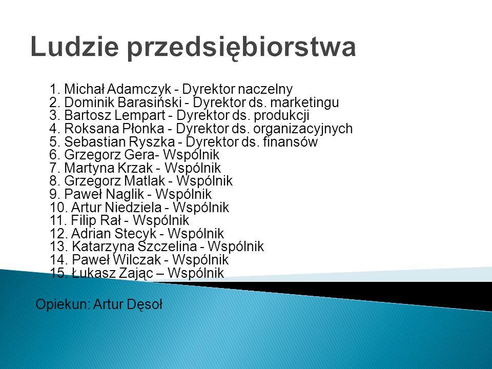 Ludzie przedsiębiorstwa 1. Michał Adamczyk - Dyrektor naczelny 2. Dominik Barasiński - Dyrektor ds. marketingu 3. Bartosz Lempart - Dyrektor ds. produ