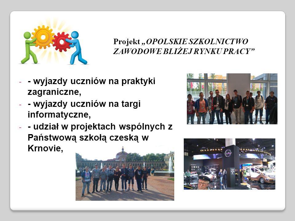 """- - wyjazdy uczniów na praktyki zagraniczne, - - wyjazdy uczniów na targi informatyczne, - - udział w projektach wspólnych z Państwową szkołą czeską w Krnovie, Projekt """"OPOLSKIE SZKOLNICTWO ZAWODOWE BLIŻEJ RYNKU PRACY"""