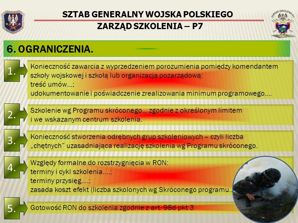 SZTAB GENERALNY WOJSKA POLSKIEGO ZARZĄD SZKOLENIA – P7 6. OGRANICZENIA. 1. Konieczność zawarcia z wyprzedzeniem porozumienia pomiędzy komendantem szko