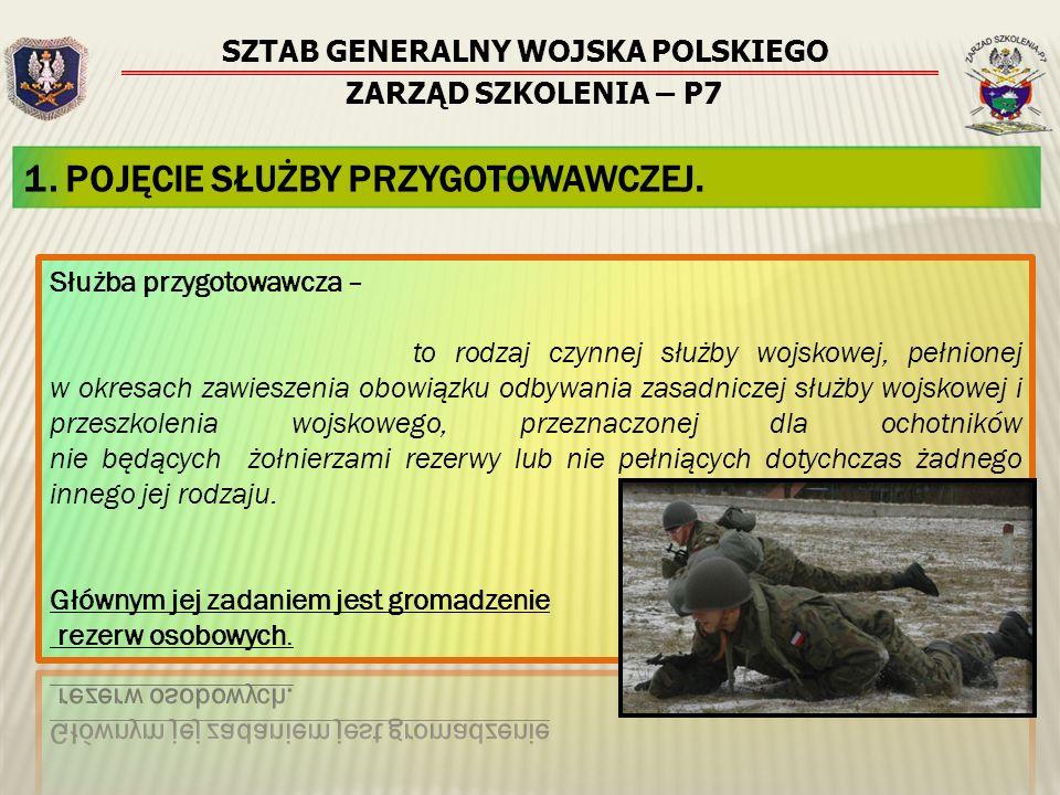 SZTAB GENERALNY WOJSKA POLSKIEGO ZARZĄD SZKOLENIA – P7 1. POJĘCIE SŁUŻBY PRZYGOTOWAWCZEJ.