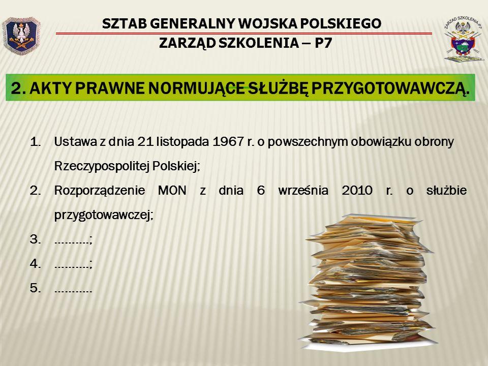 SZTAB GENERALNY WOJSKA POLSKIEGO ZARZĄD SZKOLENIA – P7 2. AKTY PRAWNE NORMUJĄCE SŁUŻBĘ PRZYGOTOWAWCZĄ. 1.Ustawa z dnia 21 listopada 1967 r. o powszech