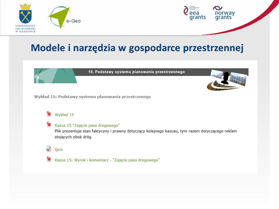 Modele i narzędzia w gospodarce przestrzennej