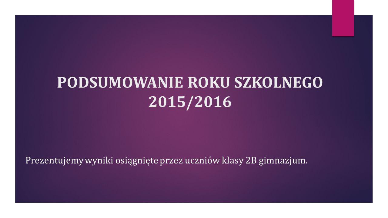 PODSUMOWANIE ROKU SZKOLNEGO 2015/2016 Prezentujemy wyniki osiągnięte przez uczniów klasy 2B gimnazjum.