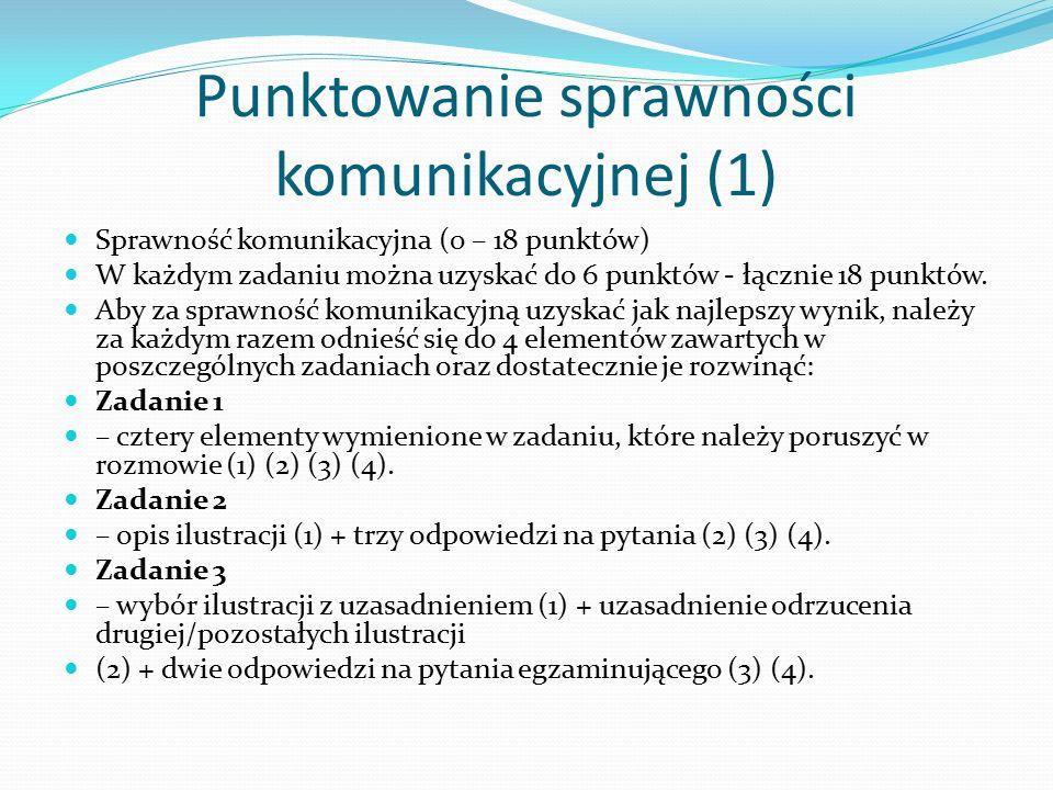 Punktowanie sprawności komunikacyjnej (2) UWAGA: W każdym zadaniu można otrzymać punkty karne (najwięcej 2), które pomniejszają wynik za zadanie.