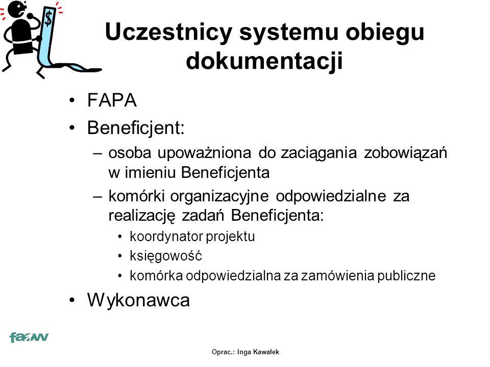 Oprac.: Inga Kawałek Uczestnicy systemu obiegu dokumentacji FAPA Beneficjent: –osoba upoważniona do zaciągania zobowiązań w imieniu Beneficjenta –komórki organizacyjne odpowiedzialne za realizację zadań Beneficjenta: koordynator projektu księgowość komórka odpowiedzialna za zamówienia publiczne Wykonawca