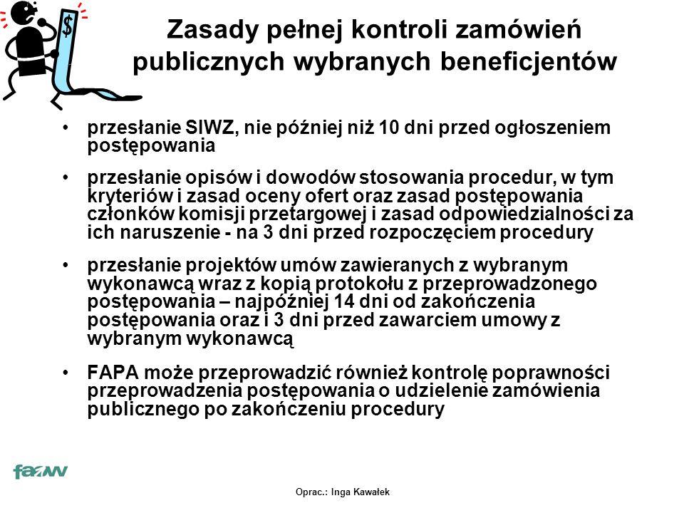 Oprac.: Inga Kawałek Zasady pełnej kontroli zamówień publicznych wybranych beneficjentów przesłanie SIWZ, nie później niż 10 dni przed ogłoszeniem pos