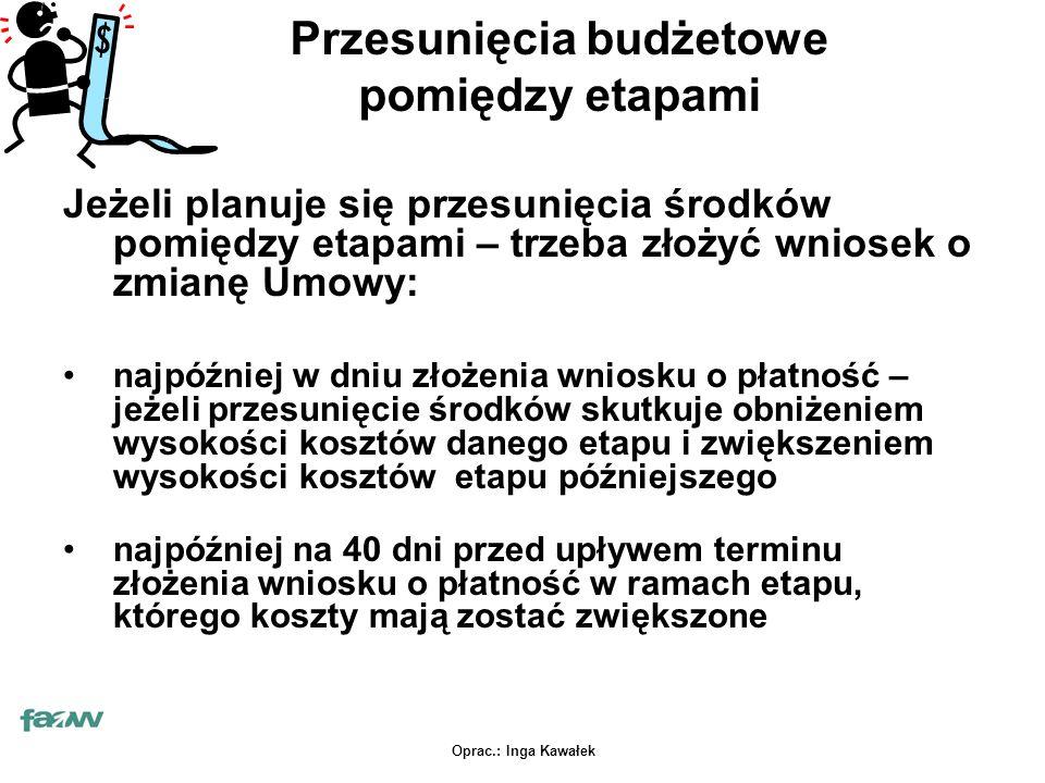 Oprac.: Inga Kawałek Przesunięcia budżetowe pomiędzy etapami Jeżeli planuje się przesunięcia środków pomiędzy etapami – trzeba złożyć wniosek o zmianę