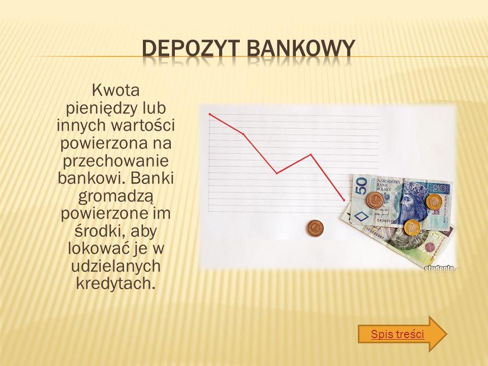 Kwota pieniędzy lub innych wartości powierzona na przechowanie bankowi.
