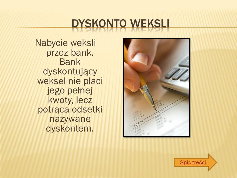 Nabycie weksli przez bank.