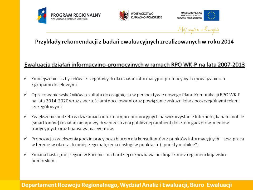 Przykłady rekomendacji z badań ewaluacyjnych zrealizowanych w roku 2014 Ewaluacja działań informacyjno-promocyjnych w ramach RPO WK-P na lata 2007-2013 Zmniejszenie liczby celów szczegółowych dla działań informacyjno-promocyjnych i powiązanie ich z grupami docelowymi.