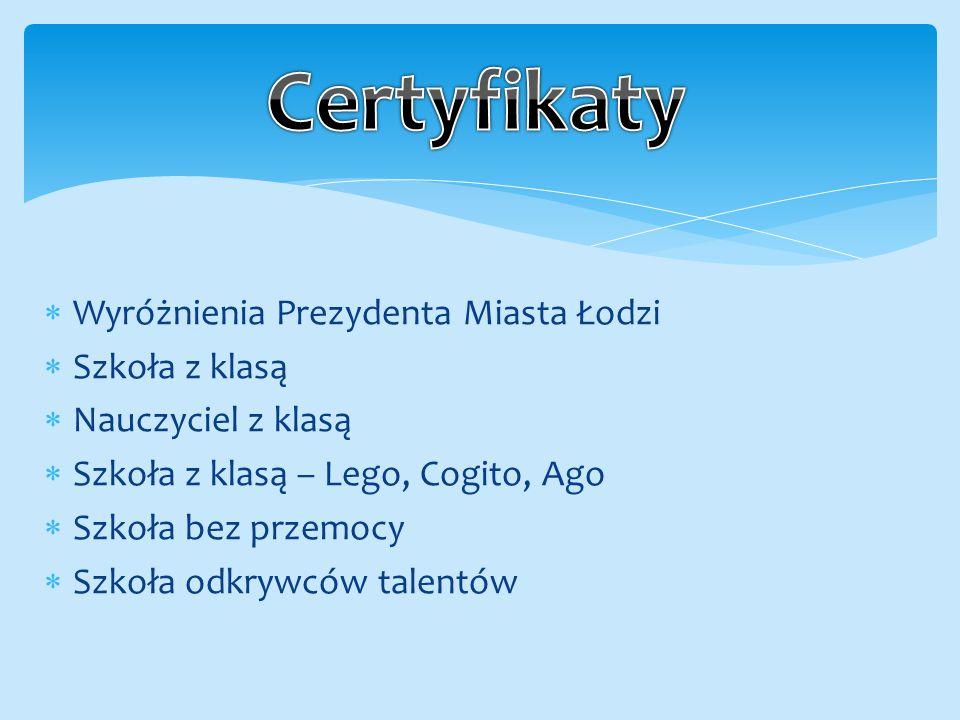  Wyróżnienia Prezydenta Miasta Łodzi  Szkoła z klasą  Nauczyciel z klasą  Szkoła z klasą – Lego, Cogito, Ago  Szkoła bez przemocy  Szkoła odkrywców talentów