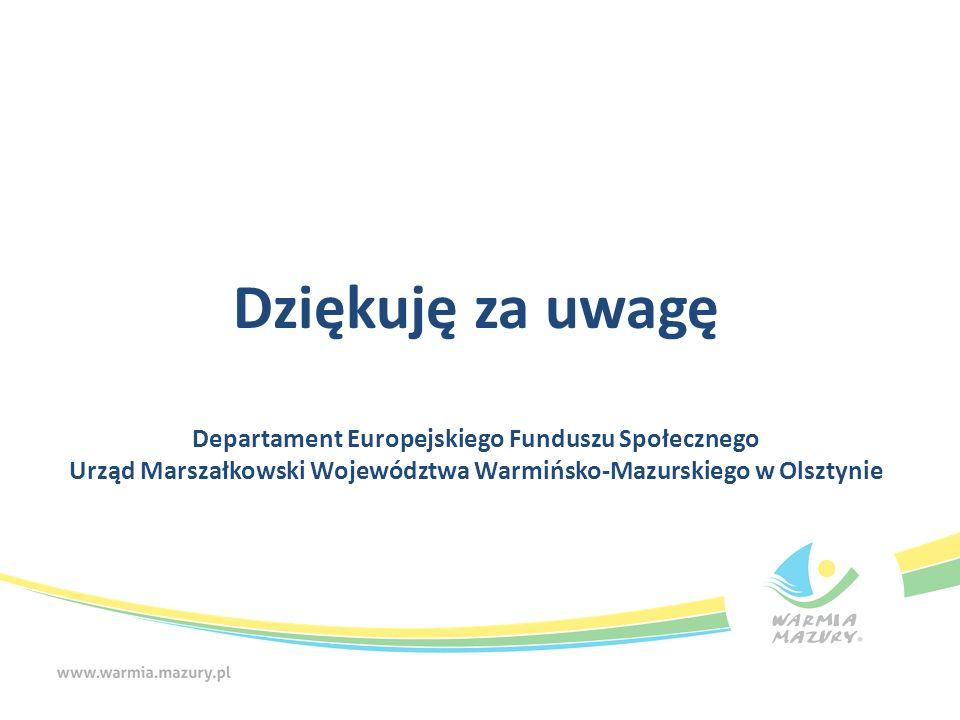 Dziękuję za uwagę Departament Europejskiego Funduszu Społecznego Urząd Marszałkowski Województwa Warmińsko-Mazurskiego w Olsztynie