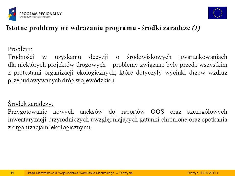 11Urząd Marszałkowski Województwa Warmińsko-Mazurskiego w Olsztynie Olsztyn, 13.09.2011 r.