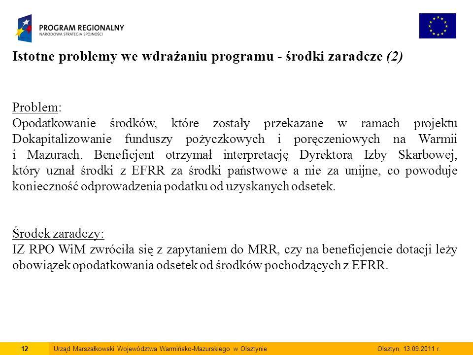 12Urząd Marszałkowski Województwa Warmińsko-Mazurskiego w Olsztynie Olsztyn, 13.09.2011 r.