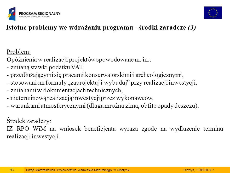 13Urząd Marszałkowski Województwa Warmińsko-Mazurskiego w Olsztynie Olsztyn, 13.09.2011 r.