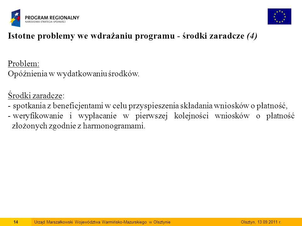 14Urząd Marszałkowski Województwa Warmińsko-Mazurskiego w Olsztynie Olsztyn, 13.09.2011 r.