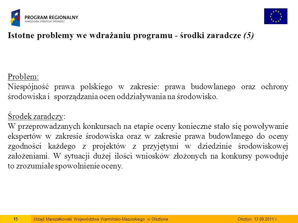 15Urząd Marszałkowski Województwa Warmińsko-Mazurskiego w Olsztynie Olsztyn, 13.09.2011 r.