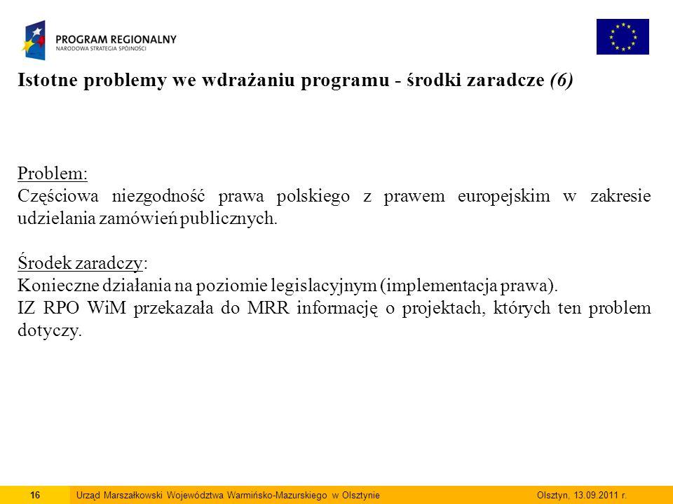 16Urząd Marszałkowski Województwa Warmińsko-Mazurskiego w Olsztynie Olsztyn, 13.09.2011 r.