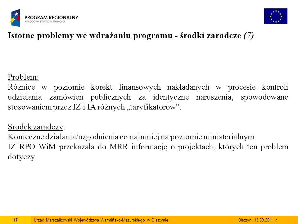 17Urząd Marszałkowski Województwa Warmińsko-Mazurskiego w Olsztynie Olsztyn, 13.09.2011 r.