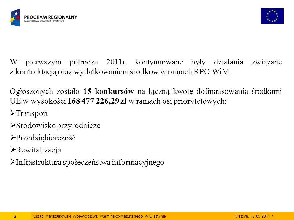 2Urząd Marszałkowski Województwa Warmińsko-Mazurskiego w Olsztynie Olsztyn, 13.09.2011 r.