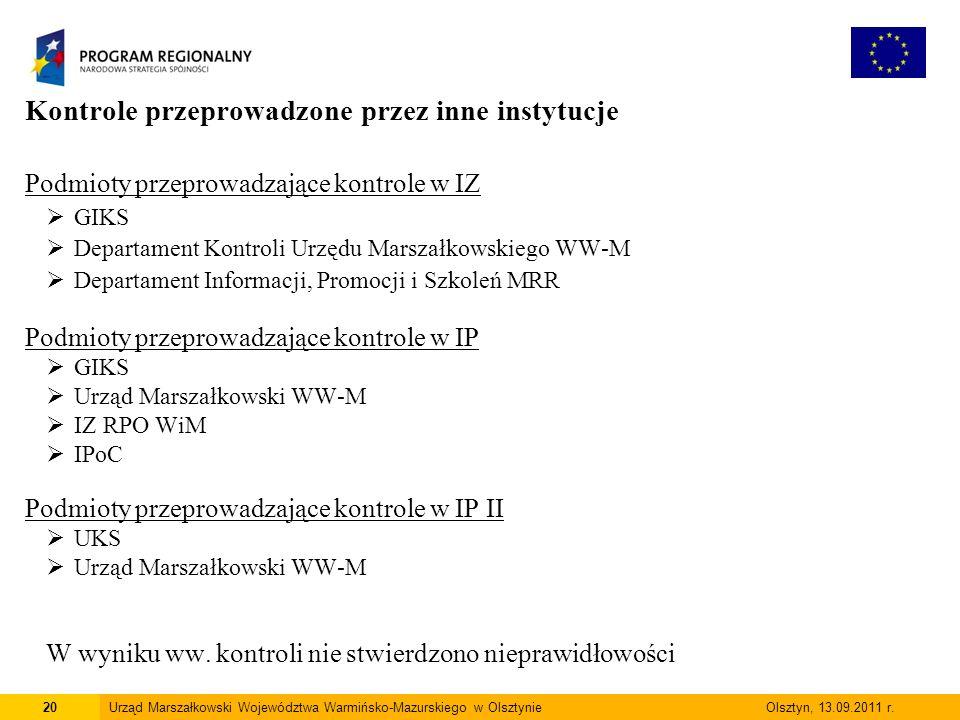 Kontrole przeprowadzone przez inne instytucje Podmioty przeprowadzające kontrole w IZ  GIKS  Departament Kontroli Urzędu Marszałkowskiego WW-M  Departament Informacji, Promocji i Szkoleń MRR Podmioty przeprowadzające kontrole w IP  GIKS  Urząd Marszałkowski WW-M  IZ RPO WiM  IPoC Podmioty przeprowadzające kontrole w IP II  UKS  Urząd Marszałkowski WW-M W wyniku ww.
