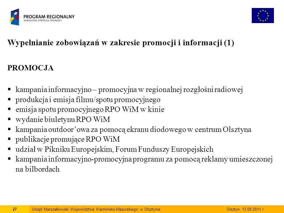 27Urząd Marszałkowski Województwa Warmińsko-Mazurskiego w Olsztynie Olsztyn, 13.09.2011 r.