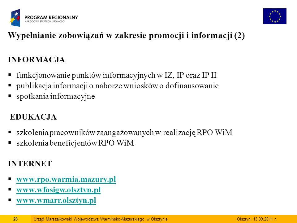 28Urząd Marszałkowski Województwa Warmińsko-Mazurskiego w Olsztynie Olsztyn, 13.09.2011 r.