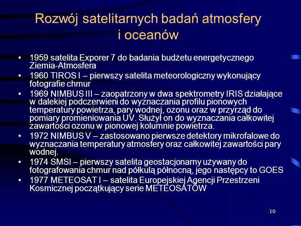 10 Rozwój satelitarnych badań atmosfery i oceanów 1959 satelita Exporer 7 do badania budżetu energetycznego Ziemia-Atmosfera 1960 TIROS I – pierwszy s