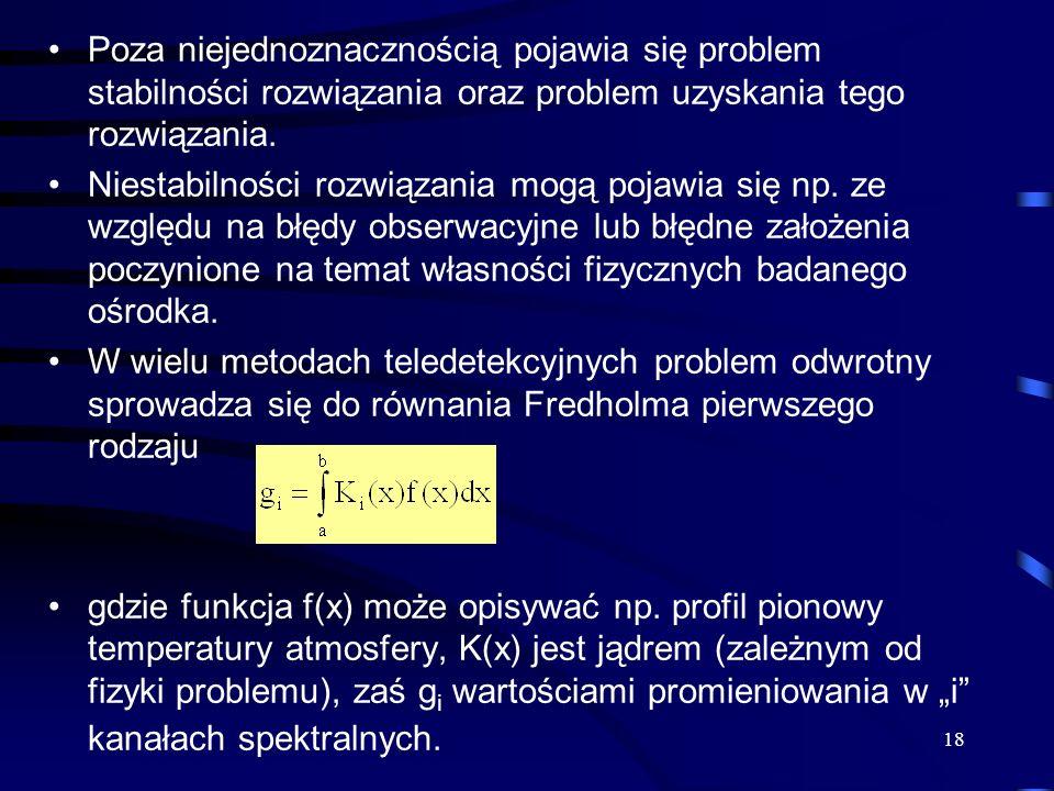 18 Poza niejednoznacznością pojawia się problem stabilności rozwiązania oraz problem uzyskania tego rozwiązania. Niestabilności rozwiązania mogą pojaw