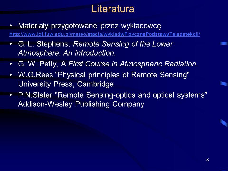 Literatura Materiały przygotowane przez wykładowcę http://www.igf.fuw.edu.pl/meteo/stacja/wyklady/FizycznePodstawyTeledetekcji/ G. L. Stephens, Remote