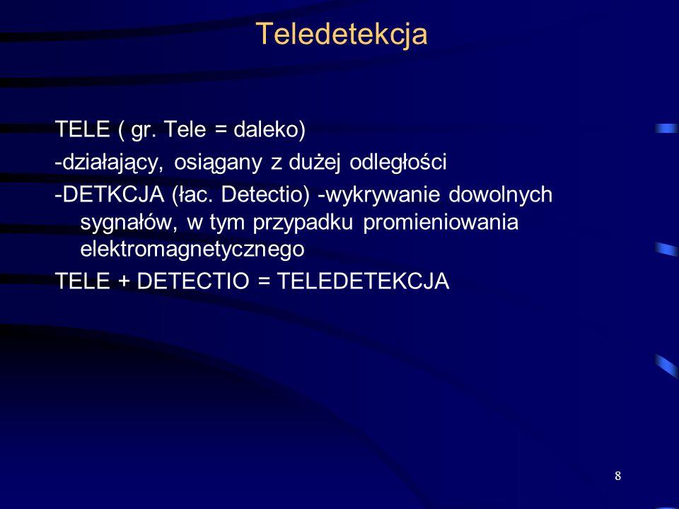 Teledetekcja TELE ( gr. Tele = daleko) -działający, osiągany z dużej odległości -DETKCJA (łac. Detectio) -wykrywanie dowolnych sygnałów, w tym przypad
