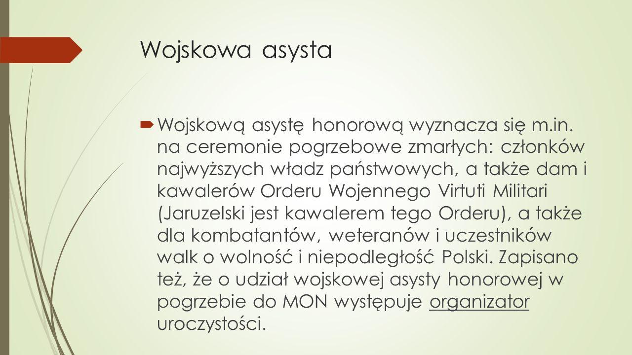 Wojskowa asysta  Wojskową asystę honorową wyznacza się m.in.