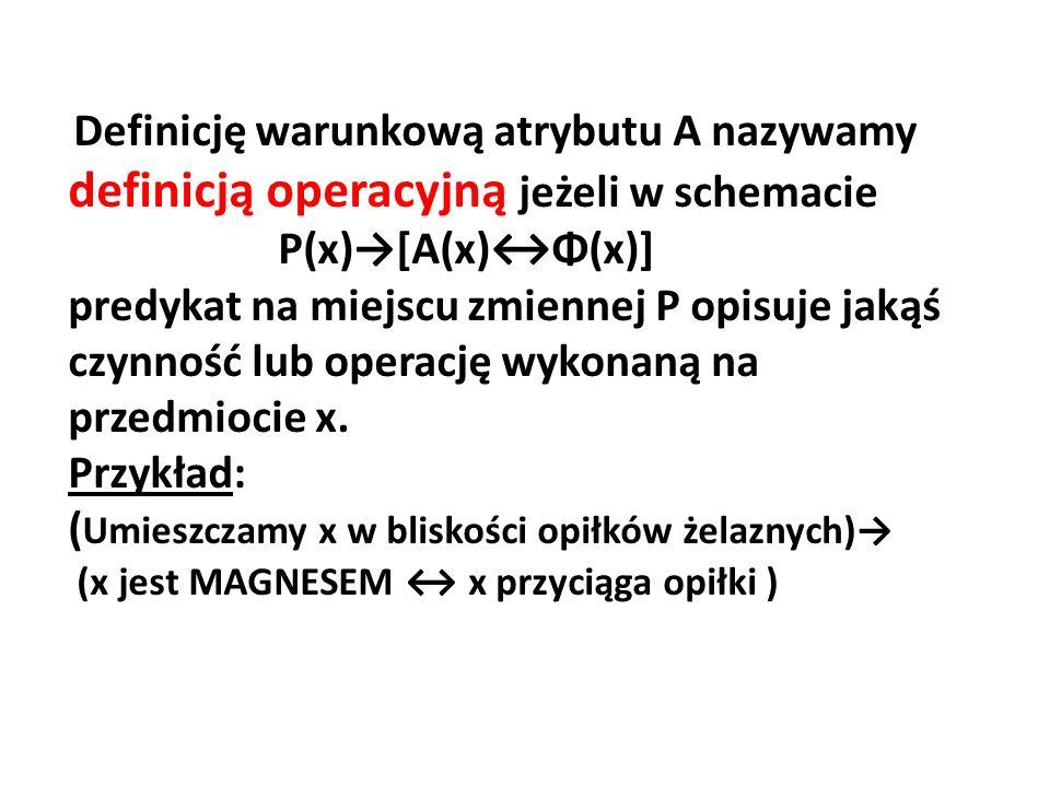 Definicję warunkową atrybutu A nazywamy definicją operacyjną jeżeli w schemacie P(x)→[A(x)↔Φ(x)] predykat na miejscu zmiennej P opisuje jakąś czynność lub operację wykonaną na przedmiocie x.