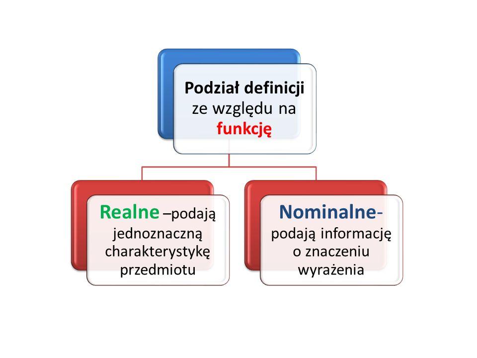 Podział definicji ze względu na funkcję Realne –podają jednoznaczną charakterystykę przedmiotu Nominalne- podają informację o znaczeniu wyrażenia