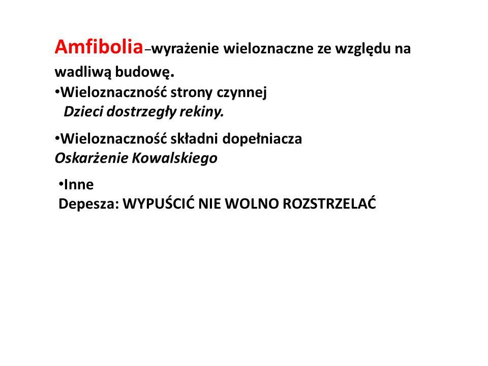 Amfibolia – wyrażenie wieloznaczne ze względu na wadliwą budowę.